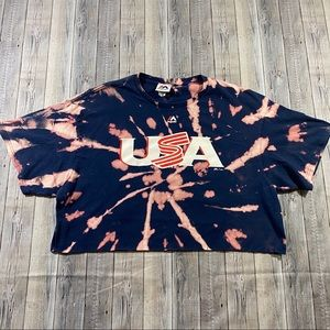 Bleach Tie Dyed USA Majestic Posey Crop Top